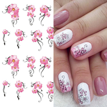 1pcs Pink Flowers Water Transfer Nail Art Sticker Decoration Floral Cherry Nail Decal Wraps Tips Manicure Slider LASTZ218-233
