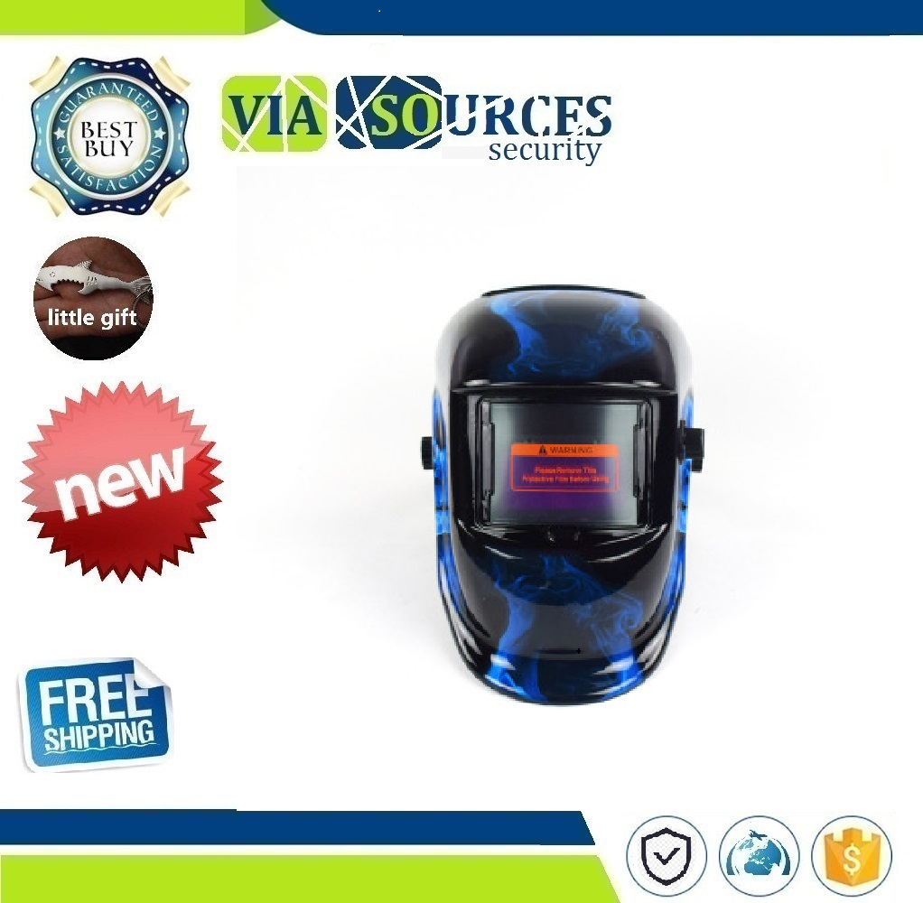 Blue Fire Skull Welding Mask Electric Soldering Helmet  Solar Auto Darkening TIG MIG MMA Welding Helmet Welder Cap Goggles Tools