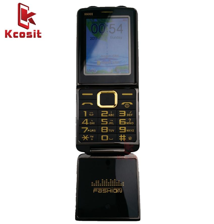 China dual torch Metal Flip Cell Phone Clamshell GSM Old Man Mobile phone Senior elder FM