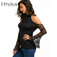 Floylyn Sexy Women Lace Womens Tops And Blouses Flare Sleeve Bowknot Open Shoulder Top Blouse