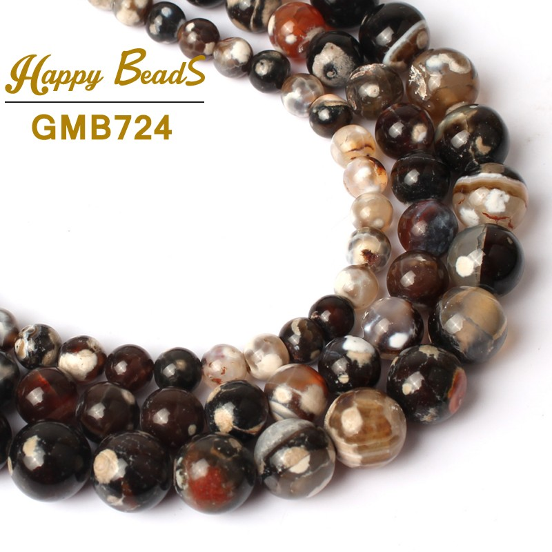 Reliable 6/8/10mm Black Cracked Fire Agates Natural Stone Beads Round Loose Beads For Jewelry Making 15diy Bracelet Necklace Wholesale Jewelry & Accessories