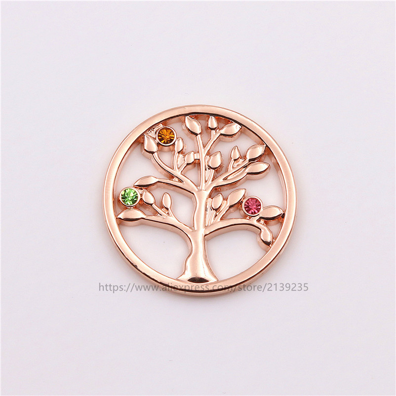 Newest 33mm Tree Of Life Coin Disc With Colourful Crystal For 35mm