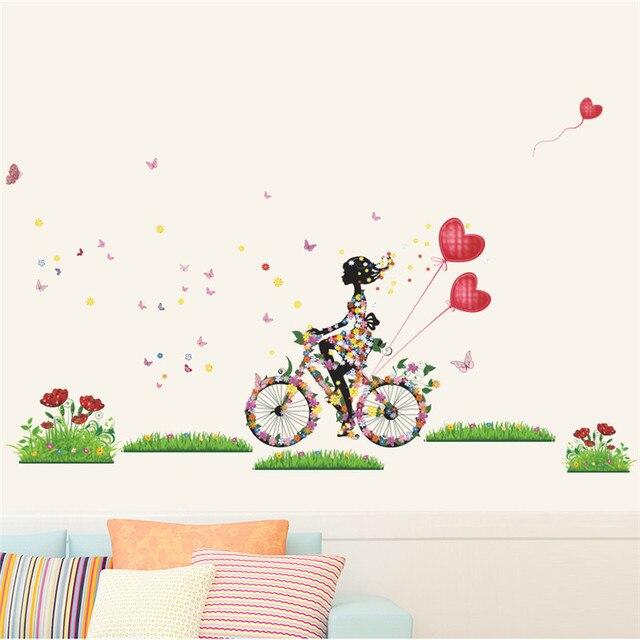 romantic fairy girl riding bike heart wall sticker for kids rooms