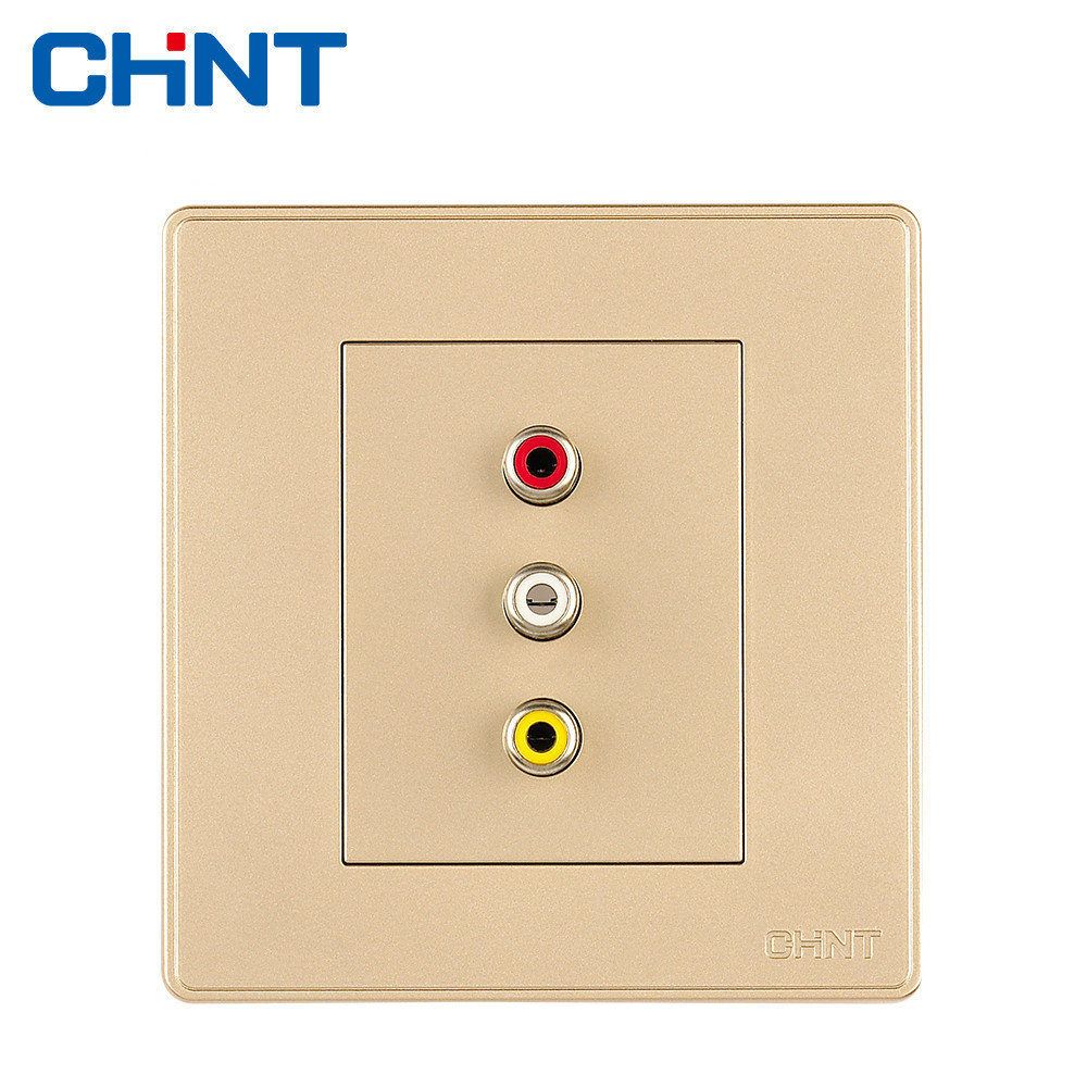 CHINT Electric Socket Connect Wall Switch Socket NEW2D Light Champagne Gold Audio Video Socket ( 3RCA )