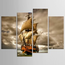 4 piece canvas HD Printed sailboat on sea Painting room decoration print posterimage