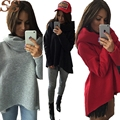 2017 Fashion Solid Women Hoodies Irregular Shirt Turtleneck Sweatershirt Shawl Collar Warm Coat Hoodie Jacket Pullover
