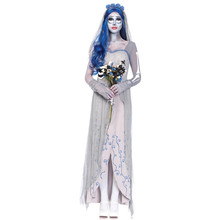 2017 Women Purim Ghost Bridal Cosplay Halloween Zombie Corpse Bride Dress Female Ghost Bride Cosplay Wear