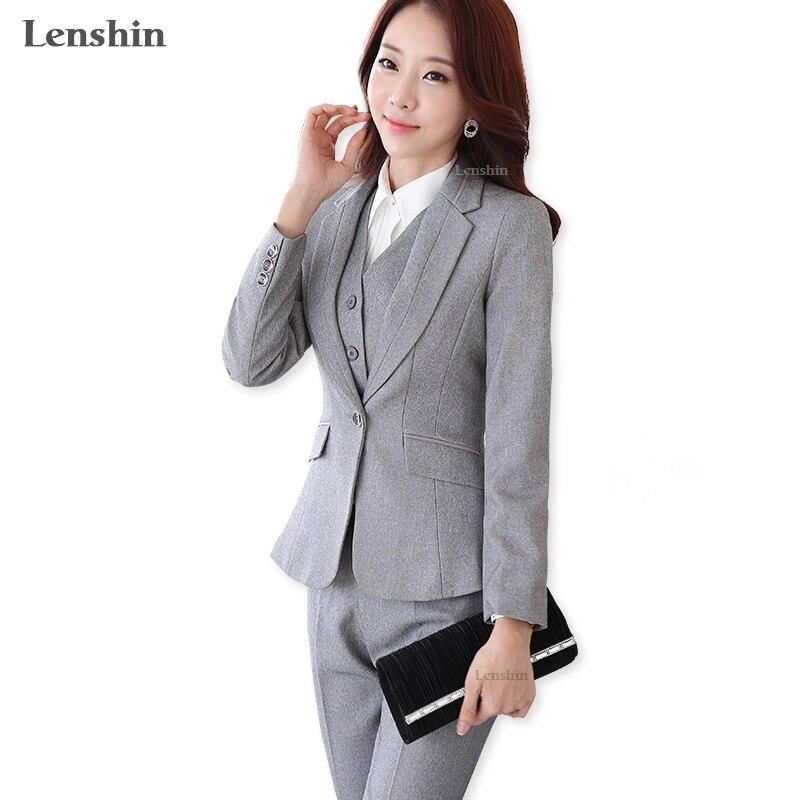 Formal Ladies Office OL Uniform Designs Women elegant Dark Business Gray pant Suits Work Wear Jacket