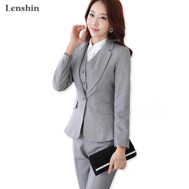 9d79ca1ad € 40.55 9% de DESCUENTO|Aliexpress.com: Comprar Formal señoras Oficina OL  uniforme diseños mujeres elegante oscuro negocios gris pantalones trajes ...