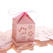 50pcs Laser Cut Star Pattern Paper Candy Sweets Gift Boxes Baby Shower Favors (Pink)(China)