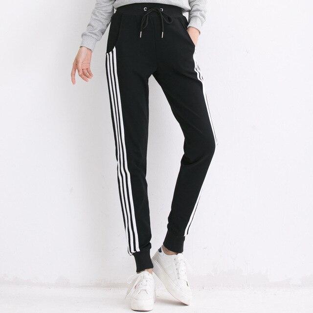 Черный, серый цвет белый полосатый штаны женские боковой полосой брюки случайные хлопка плюс Размеры эластичные штаны джоггеры спортивный костюм