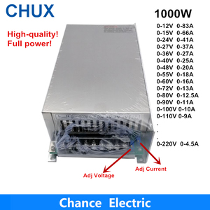 0-12V 15V 24V 36V 48V 55V 60V 72V 80V 90V 100V 110V Adjustable 1000W Switching Power Supply For Led 1000W 110/220V Ac To Dc Smps(China)