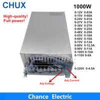 0-12V 15V 24V 36V 48V 55V 60V 72V 80V 90V 100V 110V réglable 1000W alimentation à découpage pour Led 1000W 110/220V courant alternatif à courant continu Smps