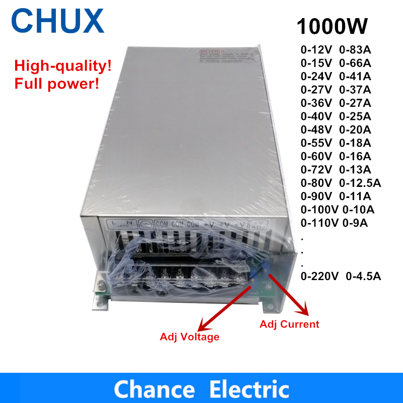 0-12V 15V 24V 36V 48V 55V 60V 72V 80V 90V alimentation à découpage réglable 1000W alimentation à alimentation LED 1000W 110/220V Ac à Dc Smps