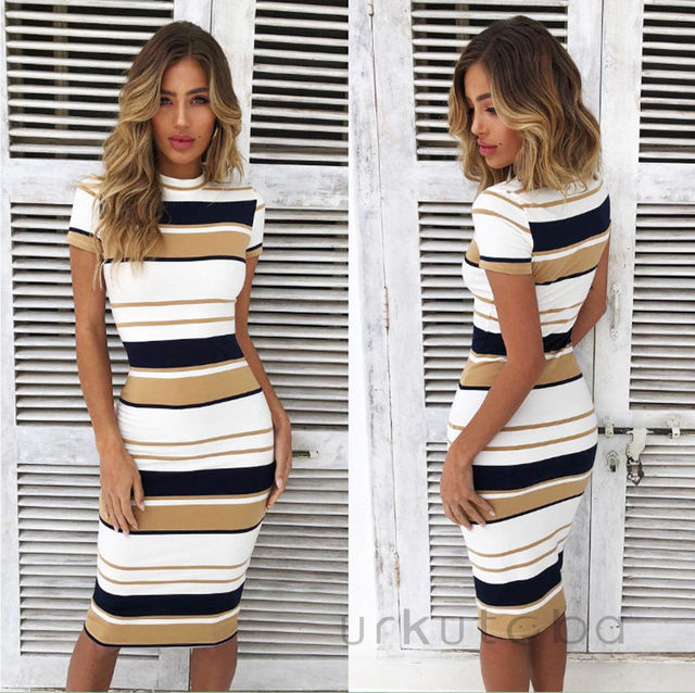 f2dec02ad121 Fashion Casual Women Ladies Dresses Summer Striped Round Neck Short Sleeve  Bodycon Midi Dress Red Yellow Clothes-in Dresses from Women's Clothing on  ...