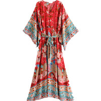 Bohemian Floral Printing Kimono Sundress Summer 2018 Women Boho Beach Tunic Maxi Dress Casual Female Elegant Loose Long Dress