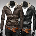 Men Slim leather collar male short paragraph Slim motorcycle leather casual