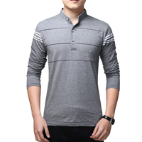 BROWON Spring Fashion Design Social T Shirt Men Long Sleeve Plus Size Stripe Men T Shirt