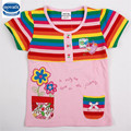 2016 summer gitl t-shirt short sleeve baby girl clothes rainbow striped floral girl t-shirt nova top girl clothes tee clothing