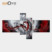 Handgeschilderde olieverfschilderijen op canvas schilderij abstract zwart wit rood decoratie moderne olieverf modulaire foto