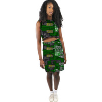 Leisure Time African Women Sleeveless Crop Tops And Short Pants Set Fashion Design Dashiki Africa Print