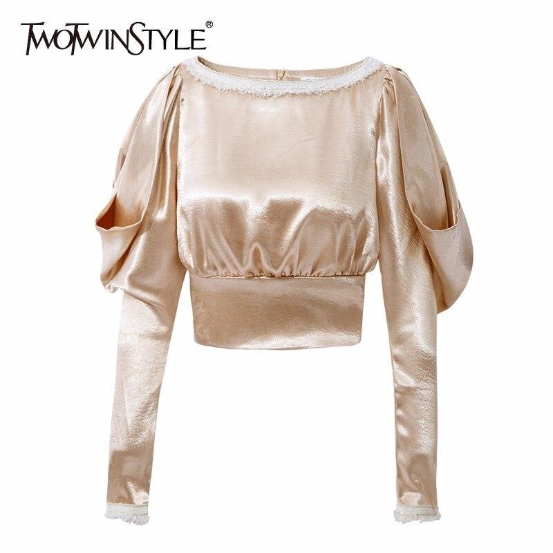 TWOTWINSTYLE Satin   Blouse     Shirt   Women Ruffle Lantern Sleeve Slash Neck Tops Female OL Fashion Clothes Korean 2018 Autumn New