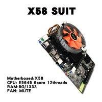 X58 Настольный ПК материнская плата LGA 1366 E5645 6 core 12 потоков Процессор + память 8 ГБ + немой вентилятор компьютер основная плата DDR3 Оперативная п