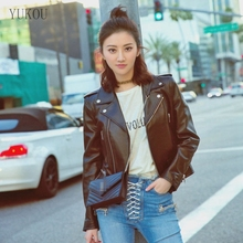 YUKOU Woman Coat Fashion Sheepskin Leather Female Jackets Motorcycle Clothing  Real Short Ladies