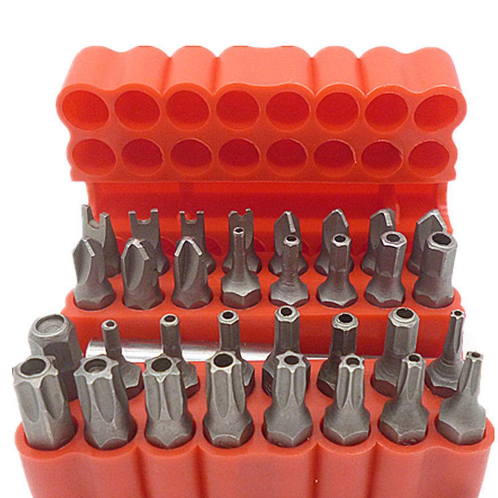 Hot Sale 33 Piece Tamper Proof CRV Security Bit Set with Magnetic Extension Bit Holder Torx Hex Star Spanner Tri Wing