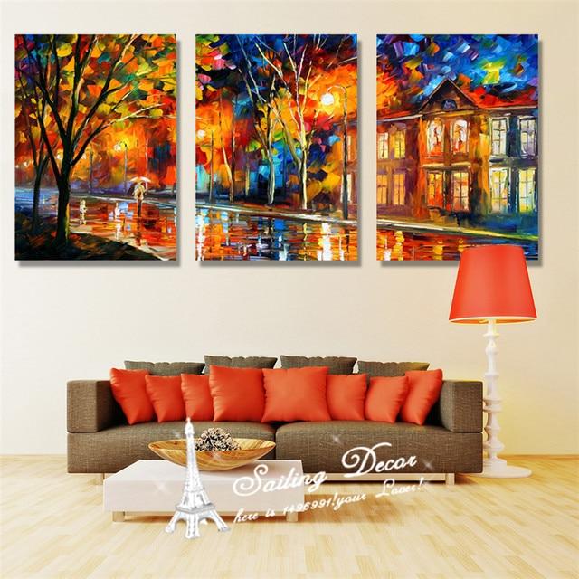 3 Stücke Leinwand Malerei Auf Der Wand Home Decor Leinwand Bilder Für Wohnzimmer  Baum Lichter Mit