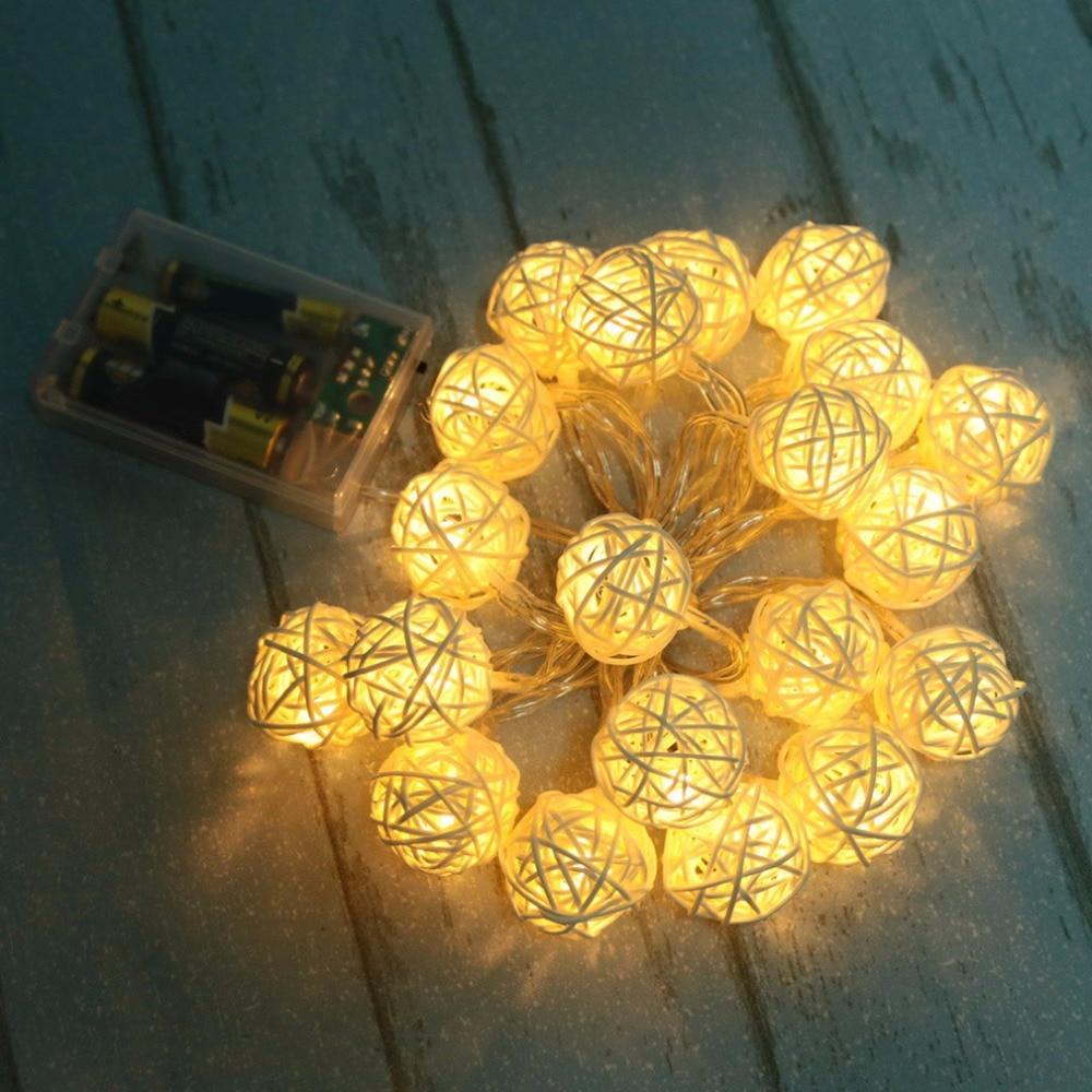 ٩(^‿^)۶2017 Super Deal 2.2M 20 LED Warm White Rattan Ball LED String ...