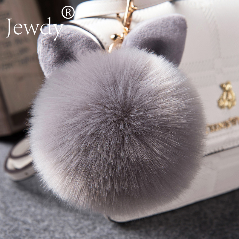 Jewdy Bunny Key Chain Pom Pom Key Rings Rabbit Fur Ball KeyChain Porte Clef Pompom de fourrure Pompon Women Bag Charms Jewelry