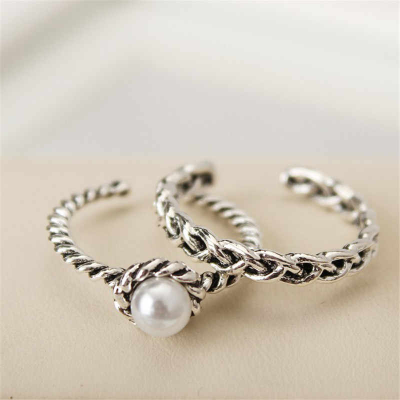 Adjustable 2Pcs/Set Antique Silver Color Simulated Pearl Band Rings Set For Women Vintage Party Boho Jewelry Gift  S4