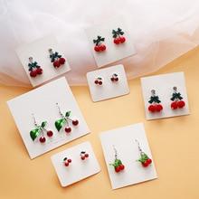 Korean Fresh Sweet Cute Cartoon Cherry Bow Knot Woman Girls Stud Earrings Fashion Jewelry Holiday-KQQE цена и фото