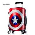 2016 nuevo capitán américa maleta de equipaje de alta calidad/men & women marvel maletas de ruedas/trolley equipaje de viaje/polo equipaje