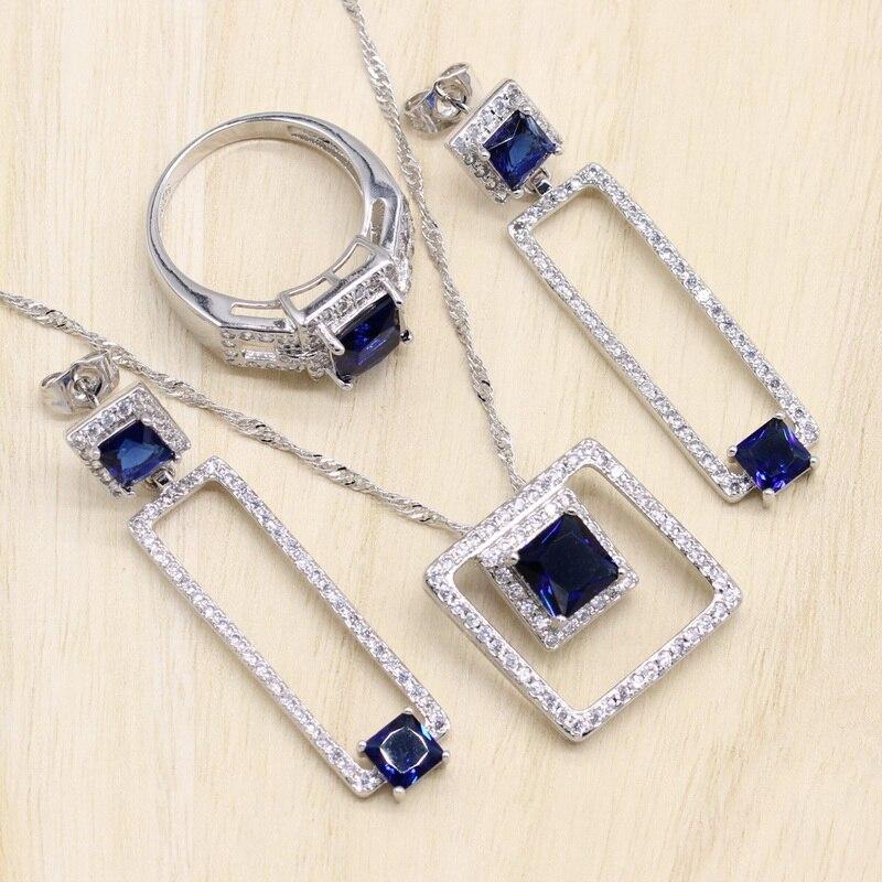Rectangle Blue Cubic Zirconia  925 Sterling Silver Jewelry Sets For Women Earrings/Pendant/Necklace/Bracelet 1