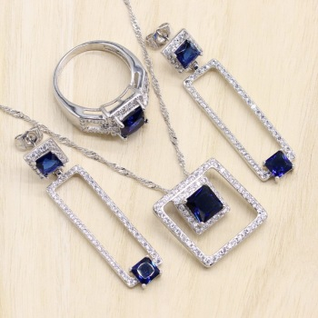 Rectangle Blue Cubic Zirconia  925 Sterling Silver Jewelry Sets For Women Earrings/Pendant/Necklace/Bracelet 1