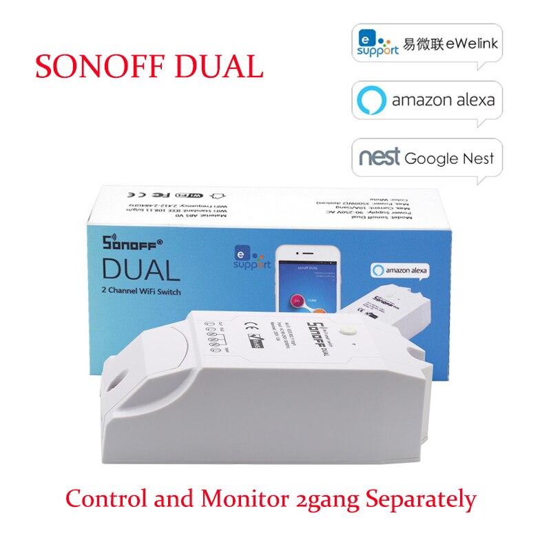 Itead Sonoff dual control 2 Gang Wi-Fi light switch control two devices smart Wi-Fi wireless smart switch work Alexa реле sonoff rf10a wi fi пульт ду sonoff page 8