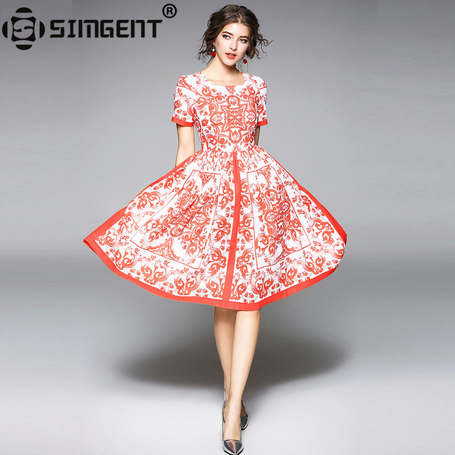 53ecb0e5568 Simgent 2018 Summer Dress Women Short Sleeve Square Collar Knee Length  Printing Slim Tropical Dress Womens Clothes Jurk SG801111