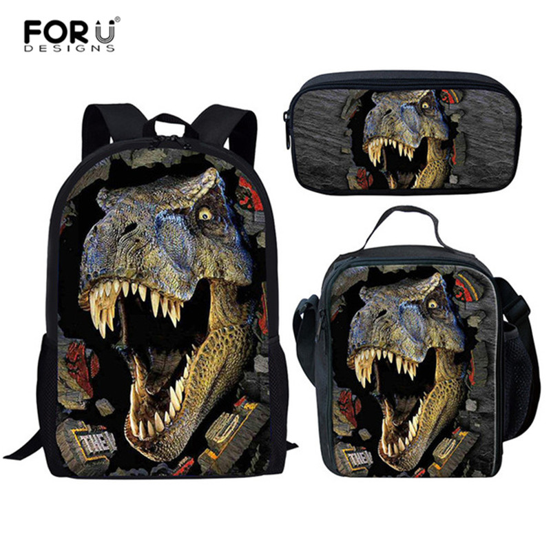 FORUDESIGNS Dinosaur 3D Printing Set School Backpacks For Boys Orthopedic Satchel Schoolbag Children Kids Book Mochila Escolar