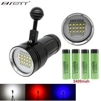 LED Diving flashlight Underwater 100m Tactical flashlight 15X XML2+6 x Red+6 x UV LED Photography Video Dive Flashlight Lamp