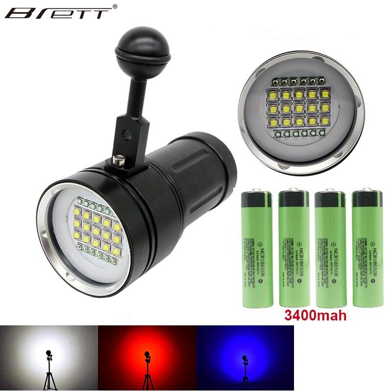 Led flashlight Plongée Sous-Marine 100 m lampe de poche tactique 15X XML2 + 6 x Rouge + 6 x UV led Photographie Vidéo plongée lampe de Poche Lampe