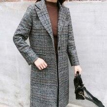 Autumn Winter Coat Women  Wool Plaid Long Woolen Slim Type Female Jackets Outwear