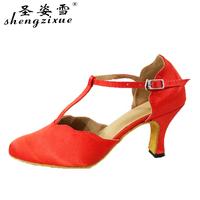 Shengzixue Red satin women's Latin   dance     shoes   Ballroom dancing   shoes   Waltz Tango soft outsole female party square   dance     shoes
