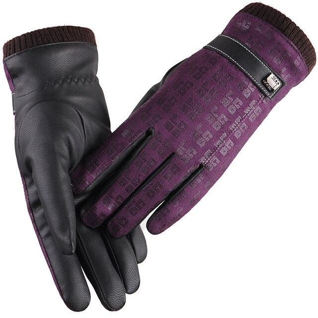 [Dexing]2016 New Women Suede Leather Chamois Gloves Winter Women Screen Glove Female Lady Pattern Gloves Mitten