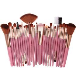 2018 Popular 25 pcs Pincéis de Maquiagem Conjunto de Beleza Fundação Poder Corar Sombra de Olho Sobrancelha Chicote Fan Lip Face Make Up escovas