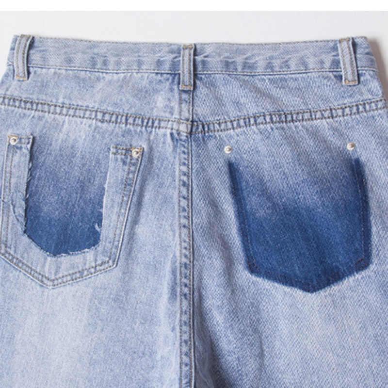 Джинсы с высокой талией женские 2019 летние тонкие джинсовые укороченные джинсы бойфренда длинные джинсы с эластичной резинкой на талии большие размеры джинсы для мам Femme