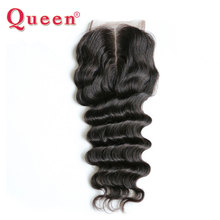 QUEEN Hair Loose Deep More Wave Brazilian Remy Human Hair Weave Bundles Lace Closure 4X4 middle Part Closure with Baby Hair