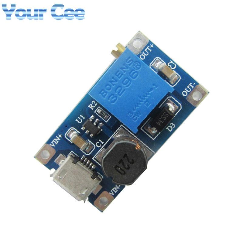 10 pcs DC-DC Adjustable Boost Module 2A Boost Plate 2A Step Up Module with MICRO USB 2V - 24V to 5V 9V 12V 28V MT3608 LM2577