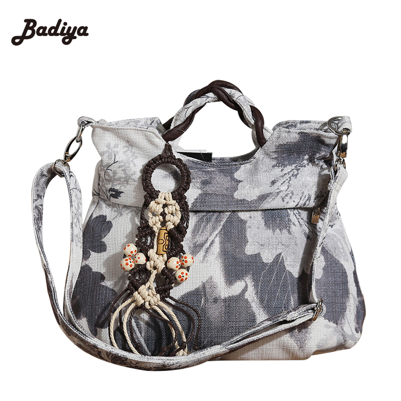 Canvas Shoulder Messenger Bags Vintage Fashion Floral Print Women's Handbag Handmade Knitting Charm Ethnic Cloth Tote Bags original ethnic embroidered women handbag vintage handmade tassel shoulder bags black canvas casual large bags